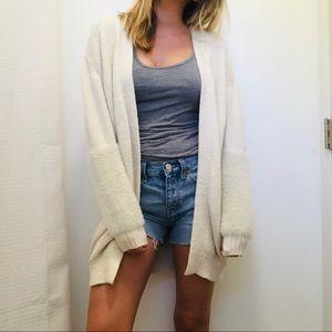 Who What Wear Faux Fur Block Sleeve Cardigan